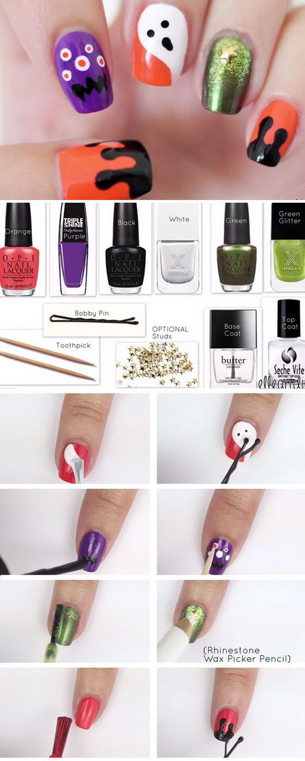 DIY Halloween Nail Art Designs with Step-by-Step Tutorials - For ...