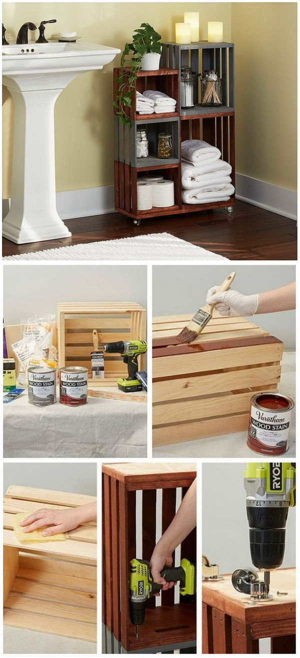Wooden Crates Bathroom Storage On Wheels.  This can be a cool storage units for your batheroom that are easy to move!