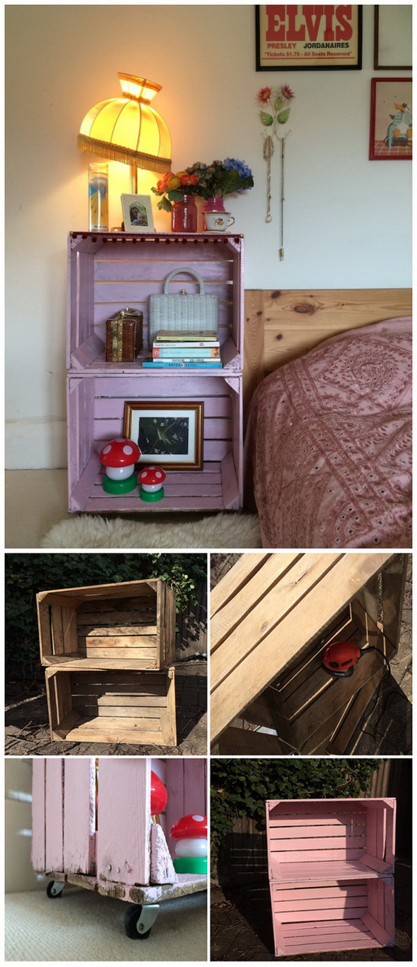 DIY Crate Side Table. A Practical Nightstand Made With A Pair Of Old Wooden  Crates