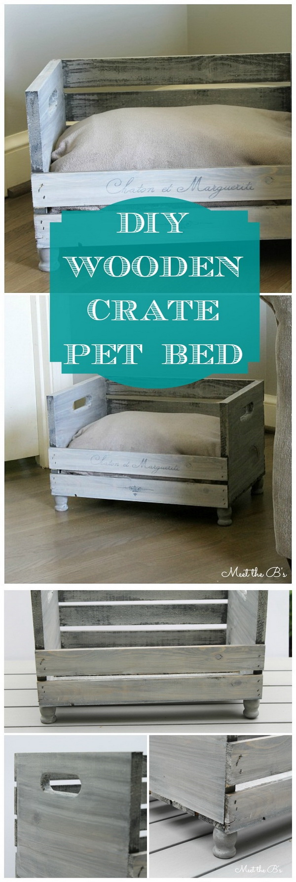DIY Crate Pet Bed. A creative and awesome idea for repurposing the wooden crates with this DIY pet bed! A cute cat furniture that also matches your decor!