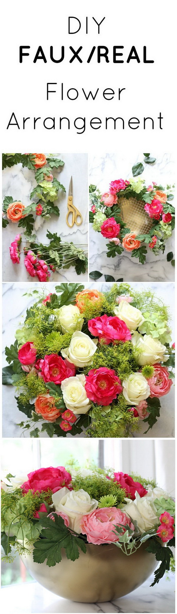 IKEA Hack: Faux/Real Flower Arrangement. Create a combo real/faux flower arrangement centerpiece using chicken wire. Inexpensive yet beautiful!