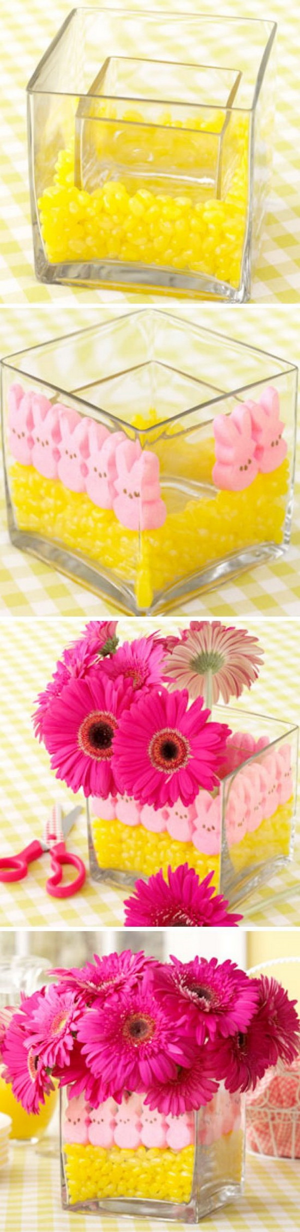 Easter Peeps Flower Vase Centerpiece. Put those cute little marshmallow bunnies and jellybeans in several different colors at center stage with this clever Peeps flower vase idea!