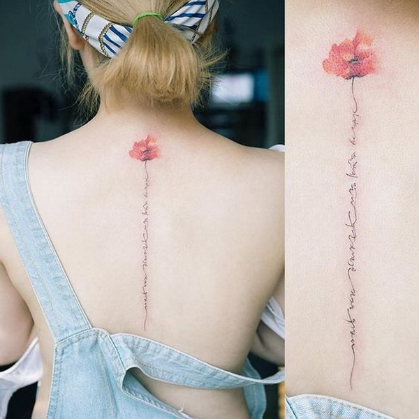 Sweet Flower Spine Tattoo.