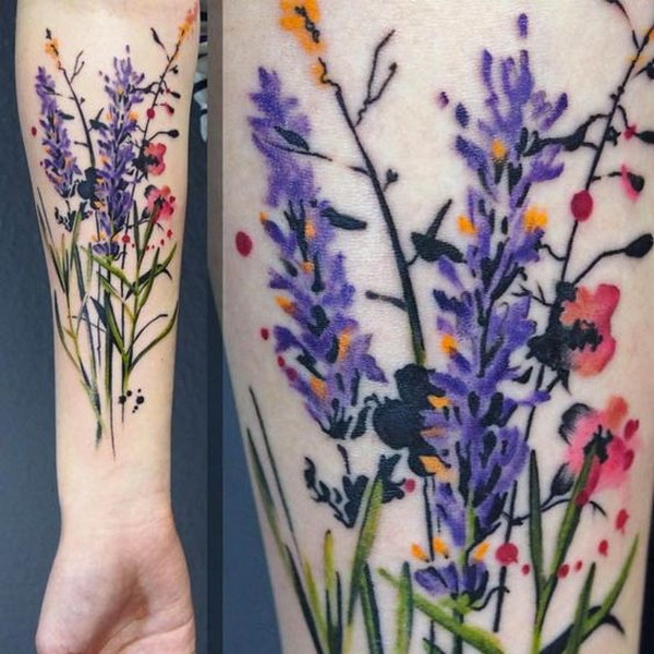 Wild Flowers Tattoo Design.