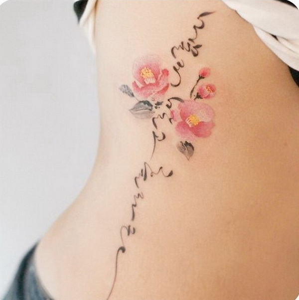 Camellia and Korean Calligraphy Tattoo on Side.
