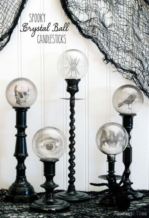Spooky Crystal Ball Halloween Candlesticks. A fun and spooky candlesticks with crystal balls on top! Finish the balls with some Halloween images, like bats, skulls, eyes, spiders and more. Great for a Halloween table or home decor.
