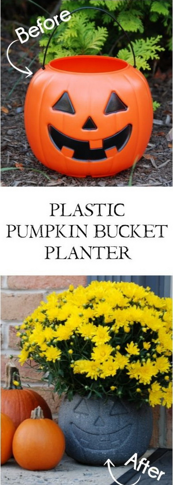 DIY Stone-Look Planter Made with Plastic Pumpkin Bucket.