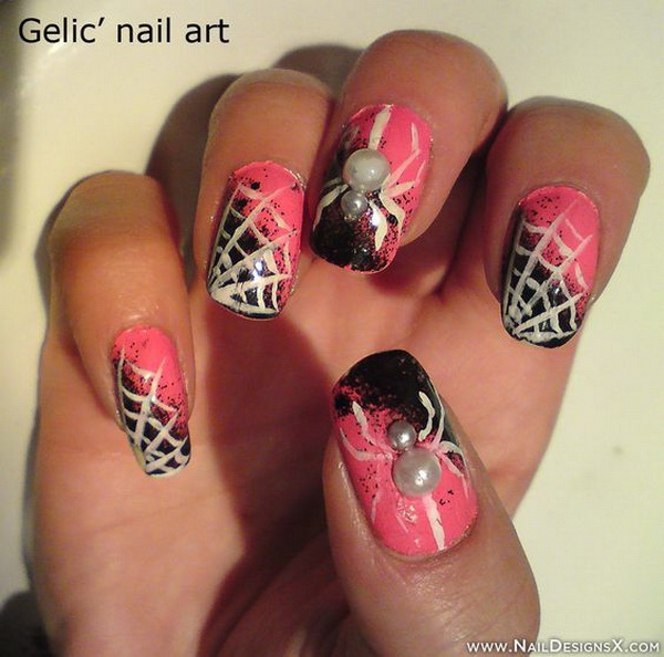Pink Halloween Nail Design. Halloween Nail Art Ideas.