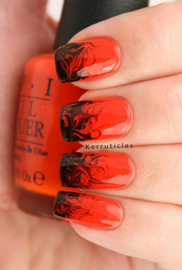 red and black halloween nail design