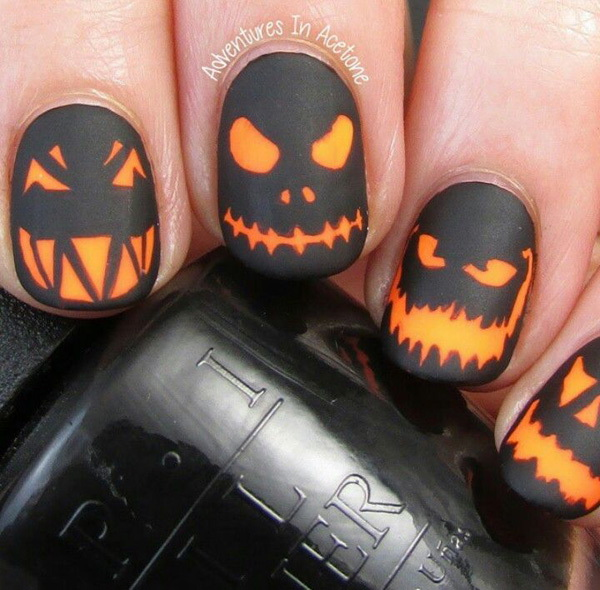 Creepy Pumpkin Heads Halloween Nail Art. Halloween Nail Art Ideas.
