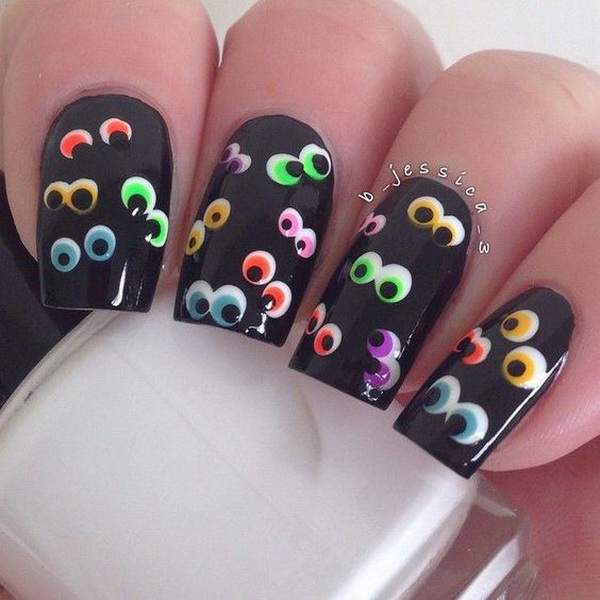 50 spooky halloween nail art designs for creative juice scary eyes halloween nail prinsesfo Images