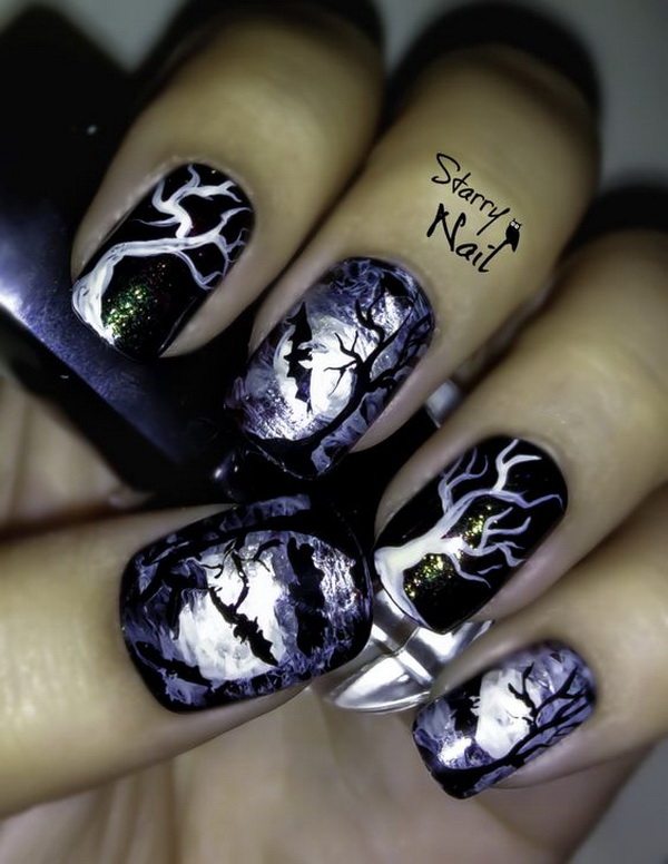 Scary Midnight Halloween Nail Designs. Halloween Nail Art Ideas. - 50+ Spooky Halloween Nail Art Designs - For Creative Juice