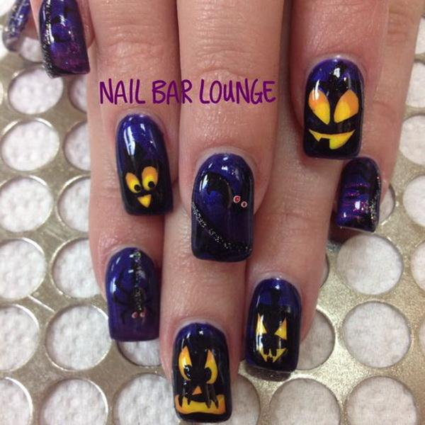 50 spooky halloween nail art designs for creative juice halloween gel nails with scary pumpkin head prinsesfo Images