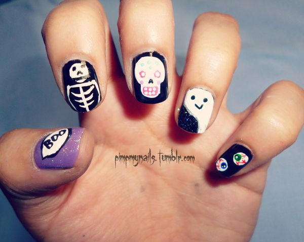 Halloween Design Ideas for Short Nails. Halloween Nail Art Ideas.
