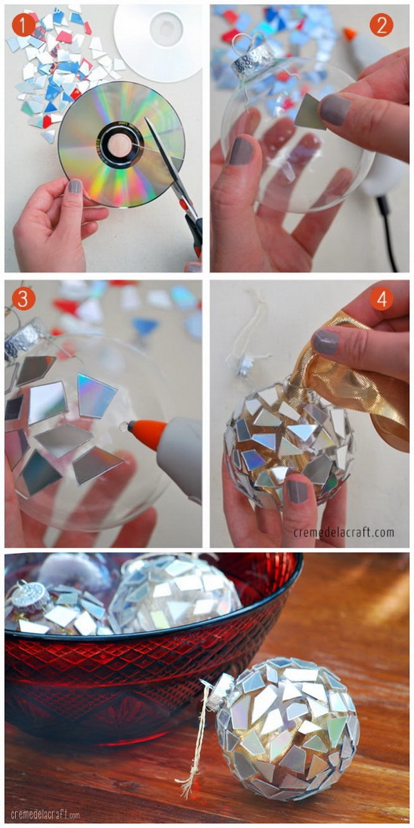 DIY Mosaic Ornaments from CDs.