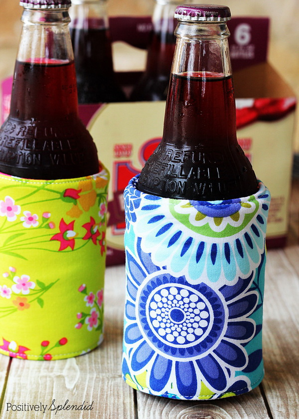 DIY Insulated Beverage Holders. Create an easy-to-make insulated beverage holder and keep your water cooler, longer. How fun are these DIY koozies made with cute fabrics! Perfect for summer!