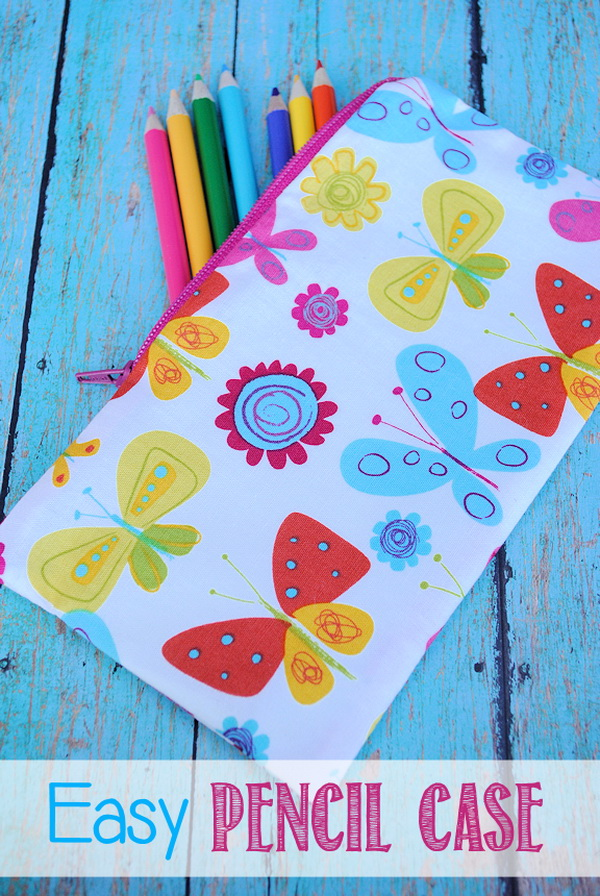 Easy Pencil Case. Make inexpensive fabric pencil cases from fabric scraps! They make great gifts for best friends or family members as a beginning of the school year gift.