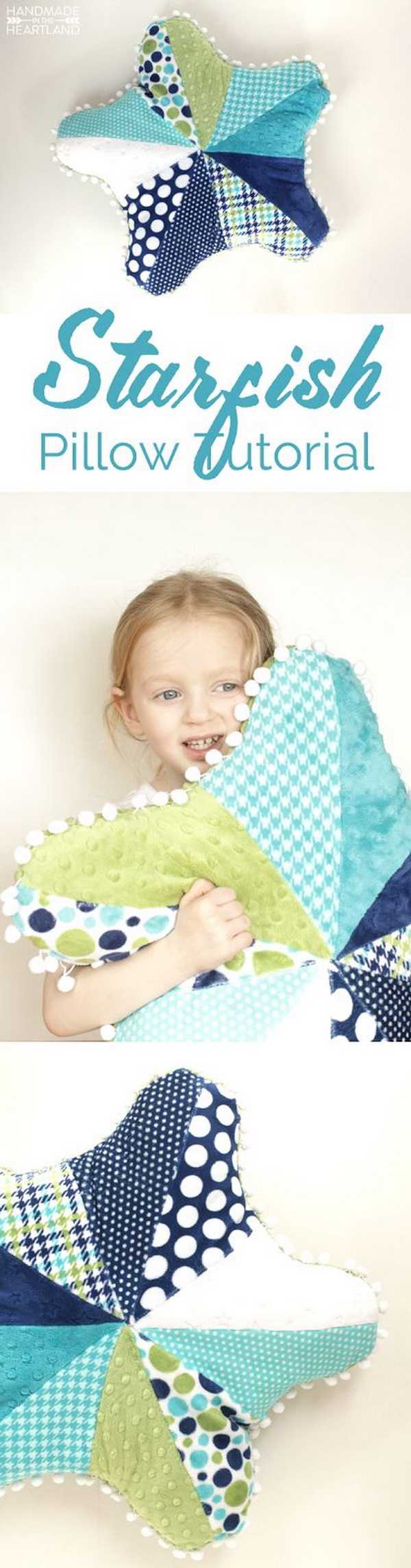 Cute Starfish Pillow. A fun and easy sewing project that you can complete in an afternoon! Definitely add a bright, cozy touch to your sofa or a little girl's bed!