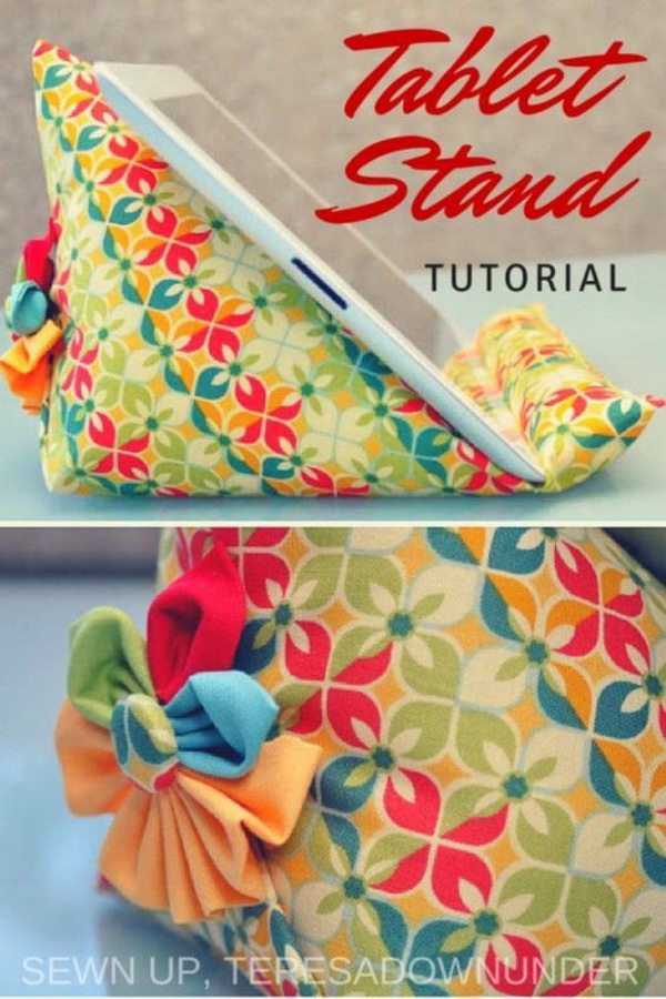 DIY Sewing Ipad Stand. So cute and pretty and also to sew for beginners! It also makes great handmade given gifts!