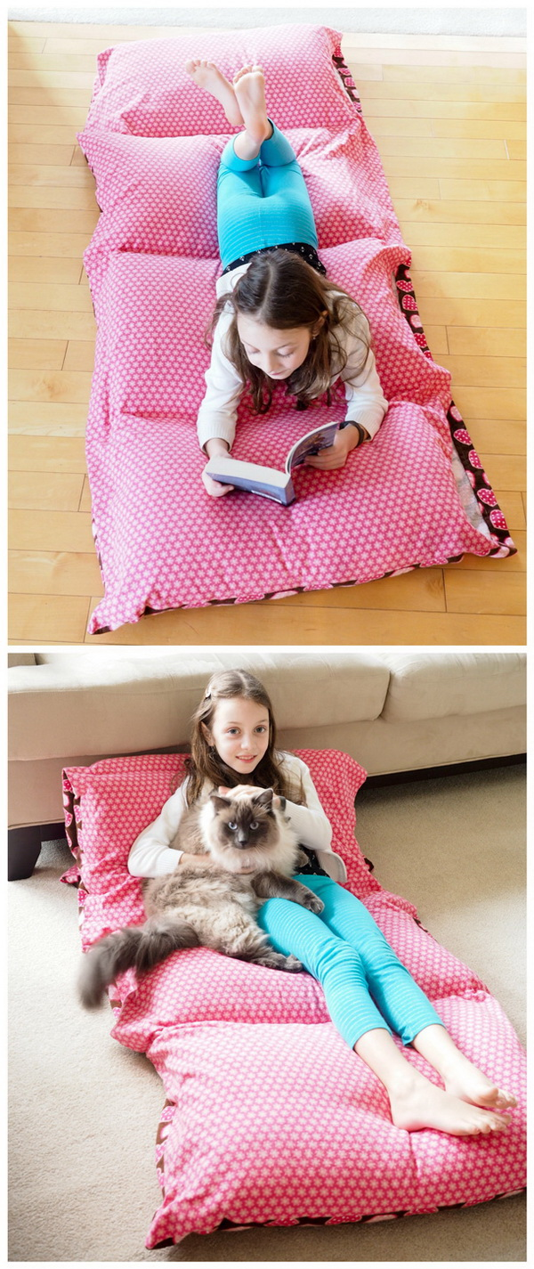 Sewing Cozy Pillow Bed. A great beginner sewing project! Perfect for reading, lounging, movie night, sleepovers and camping!