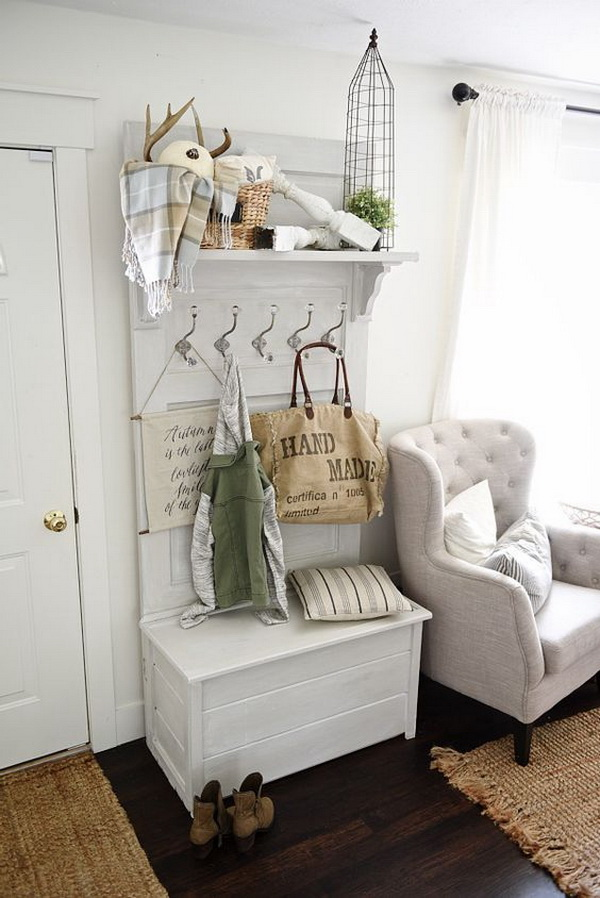 DIY hall tree - Made from an old door! Such a simple DIY durniture that is  great for a small entryway both for function and beauty!