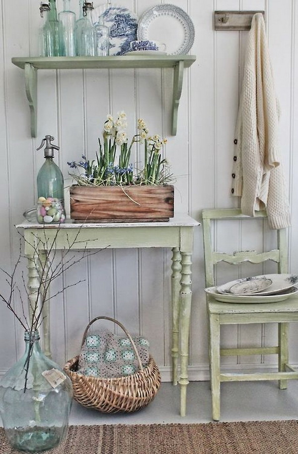 Shabby chic look with spring colour palette. Look fresh and clean!