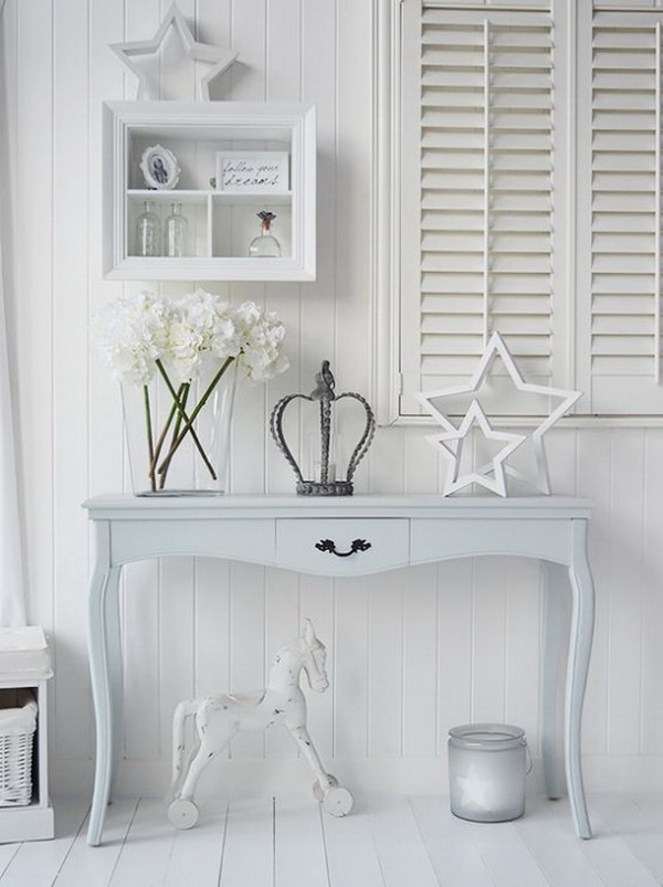 White on white shabby chic look with pale blue touches!