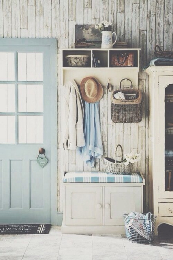 Shabby chic entryway with rustic touches.