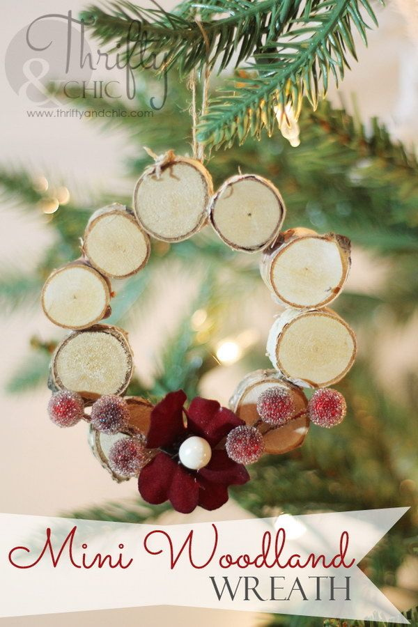 mini woodland wreath ornament