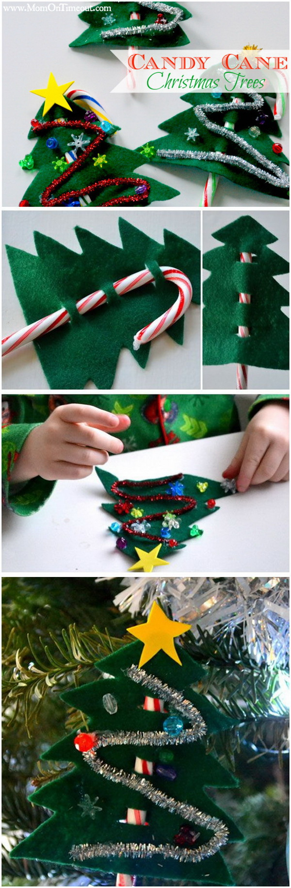 DIY Felt Candy Cane Christmas Trees. This DIY felt candy cane Christmas tree is a great craft idea for little ones, the perfect Christmas party favor, ornament, or it makes a pretty gift topper too!