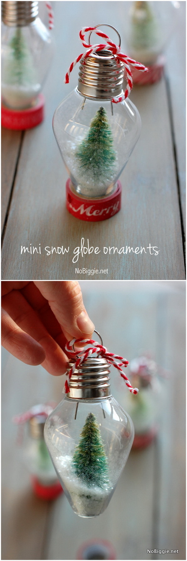 DIY Mini Snow Globe Ornament. Turn the clear plastic old-fashioned Christmas light bulb into the stunning ornament with tiny bottle brush trees inside for your Christmas tree.