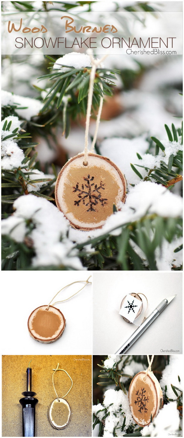 Wood Burned Snowflake Ornaments. Paint a wood slice gold, then use a wood burner to draw a pretty snowflake, then you've got this little project to decorate your tree and bring a touch of rustic warm.