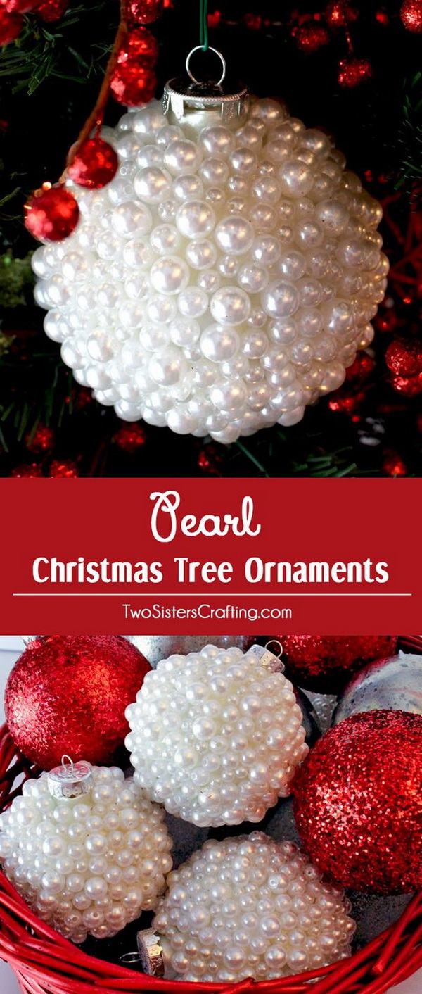 DIY Pearl Christmas Tree Ornaments. These DIY pearl Christmas ornaments are so unique and beautiful and special and look lovely on my Christmas Tree.