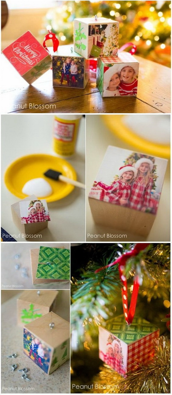 DIY Wooden Photo Block Ornaments. Make a unique and personal gift this year to your friends and family using printed photos. Every one will love! Super adorable to hung on the tree, too!