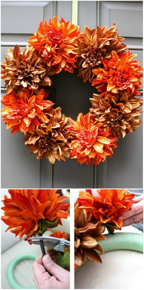DIY Fall Wreath. Get your home fall-ready by decking your door with this beautiful and easy to make fall wreath!