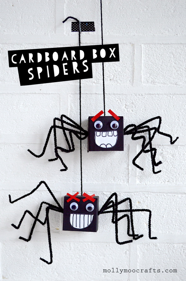 Cardboard Box Spiders. The easiest and goofiest of halloween cardboard box spiders made with pipe cleaners, googly eyes and paper. Perfect craft idea for kids this halloween.