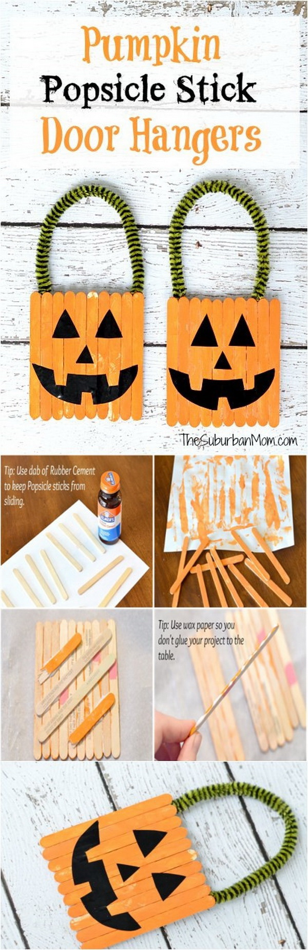 Halloween Pumpkin Popsicle Stick Door Hanger. A fun and easy way to decorate for Halloween with these cute, homemade door hangers. Halloween Kids Craft. Neat Halloween idea!