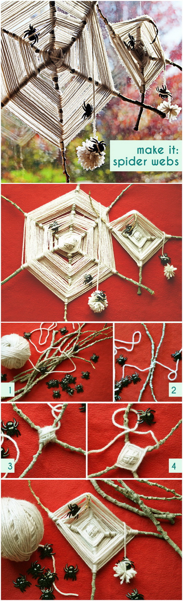 Handmade Spider Webs. Whip up some stylish & spooky decor for decoration with yarn, sticks, & spider webs this Halloween.