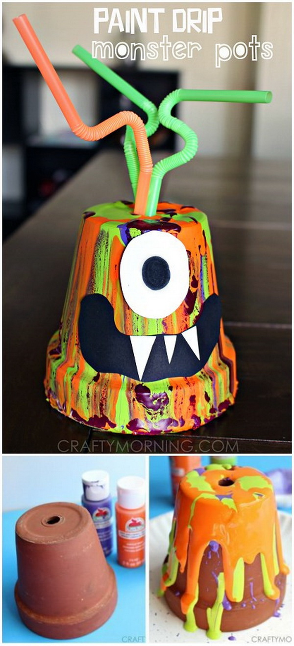 Paint Drip Monster Pots. Make some monster crafts using terra cotta pots and paint! It's a great halloween art project for the kids to do. It is easy and fun and a little messy to make!