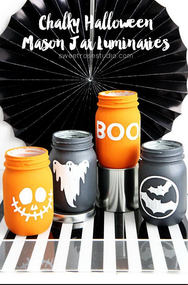 Chalky Halloween Mason Jar Luminaries.