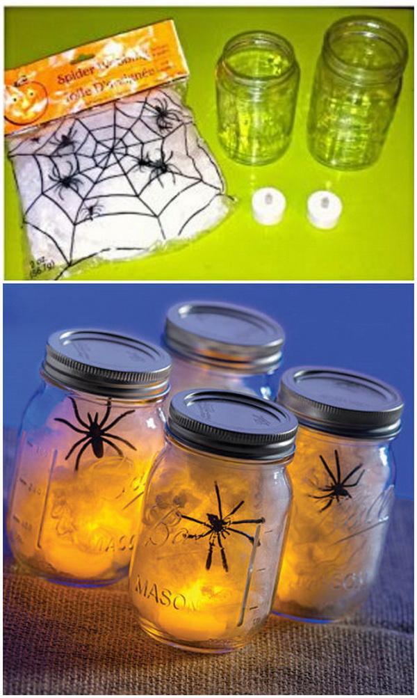 DIY Spider Web Ball Jars.