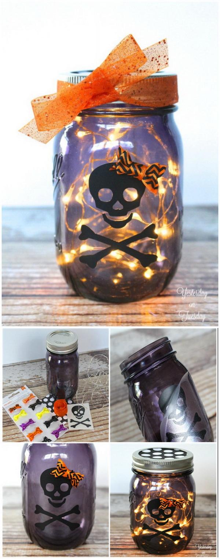 Lighted Skeleton Halloween Mason Jar.