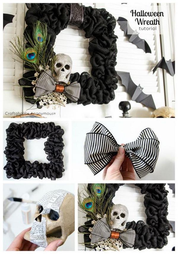 Black Burlap Halloween Wreath