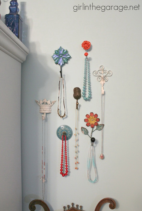 Decorative Wall Hooks As Jewelry Storage. Use decorative wall hooks to organize your necklace. Todally simple but stylish way to add storage!