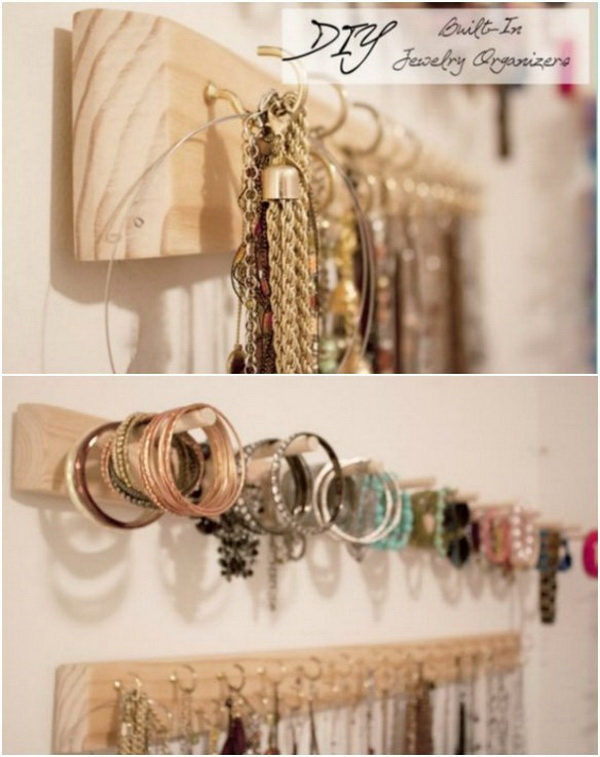DIY Built In Jewelry Organizer. Create a built in jewelry organizer with a piece of wood and some hooks and add a little organization to your space.