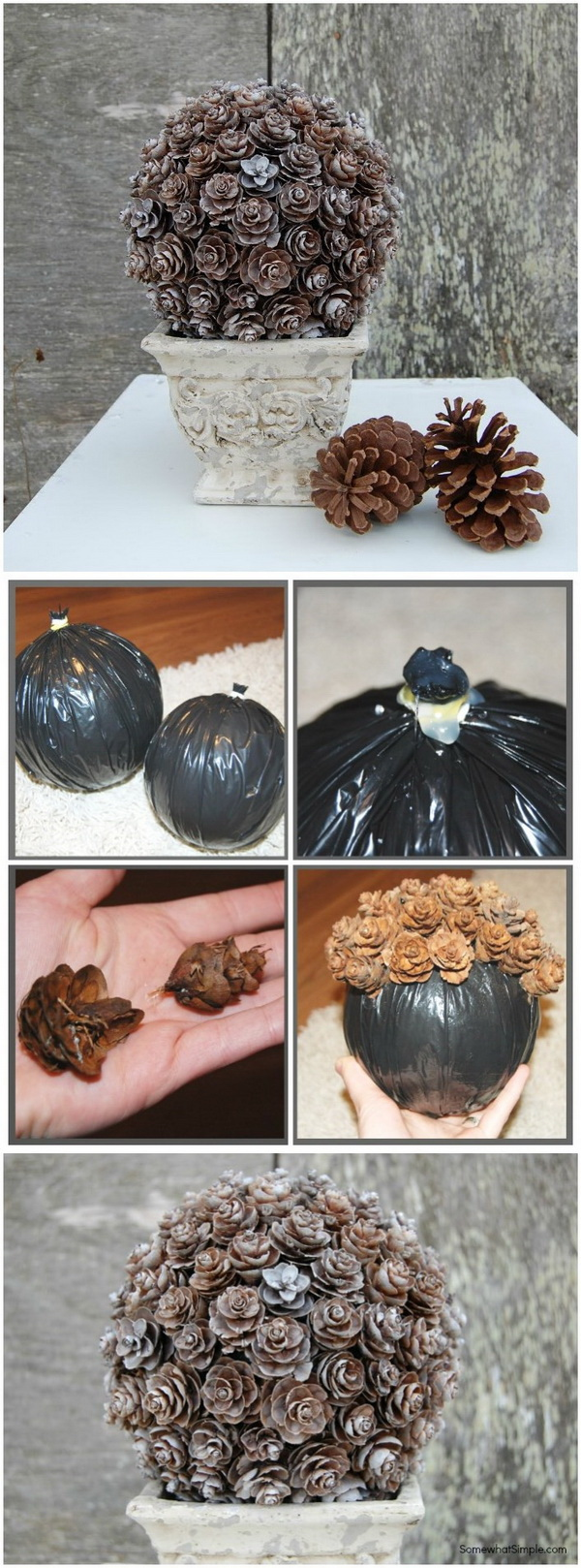Pine Cone Topiary. Make this beautifully arranged pine cone topiary to dress up your porch or home for fall.