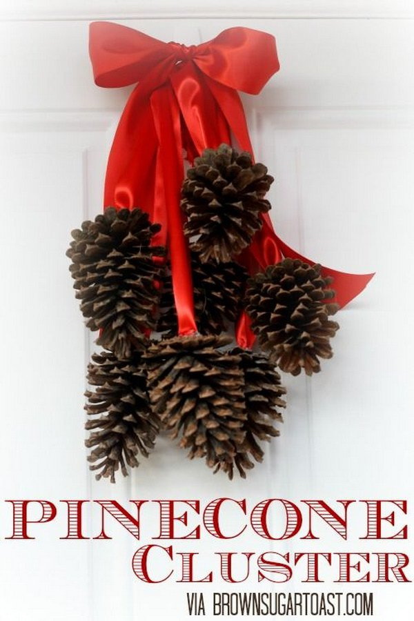 Pottery Barn Inspired Pinecone Cluster. This elegant cluster of eight pinecones is a great way to decorate inside and outside for the traditional winter or holiday.