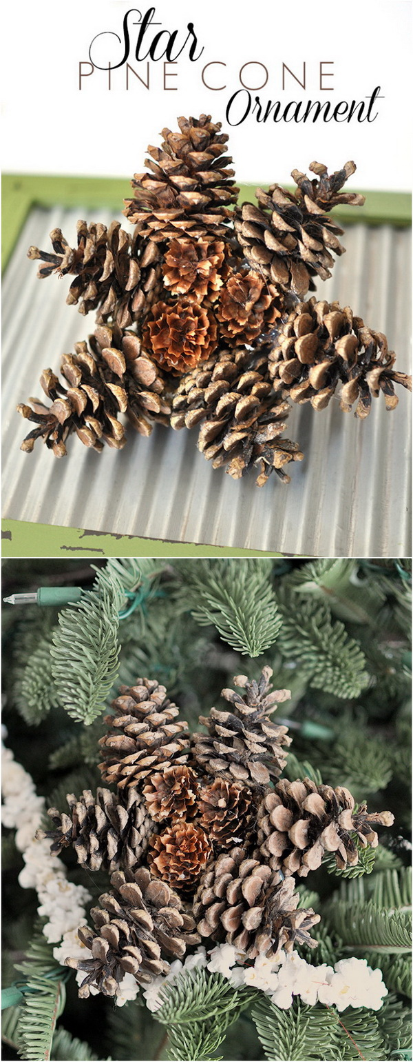Star Pine Cone Ornament. Create these star Christmas ornaments from pine cones you collected in your very own yard!