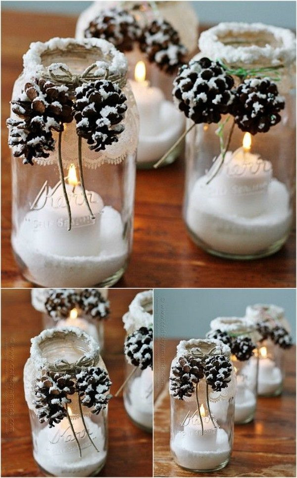 Snowy Pinecone Mason Jar Luminaries
