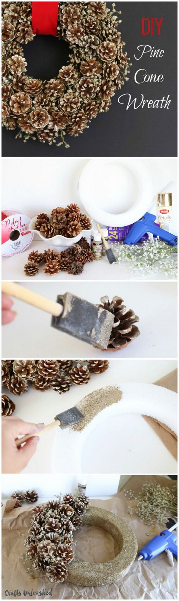 Winter Pine Cone Wreath DIY. Create a simple pine cone wreath for your fall and winter holiday decorating. Love the rustic warm it brings to our decor!
